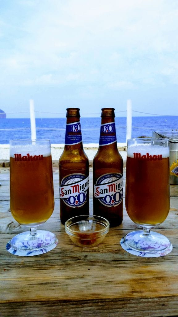 Alcohol free beers with view to beach