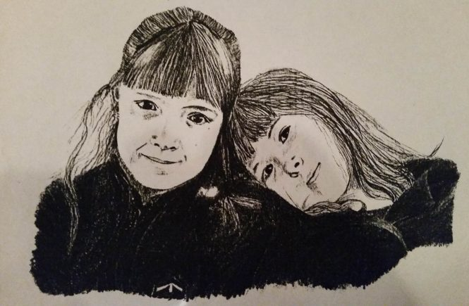 Drawing of two sisters