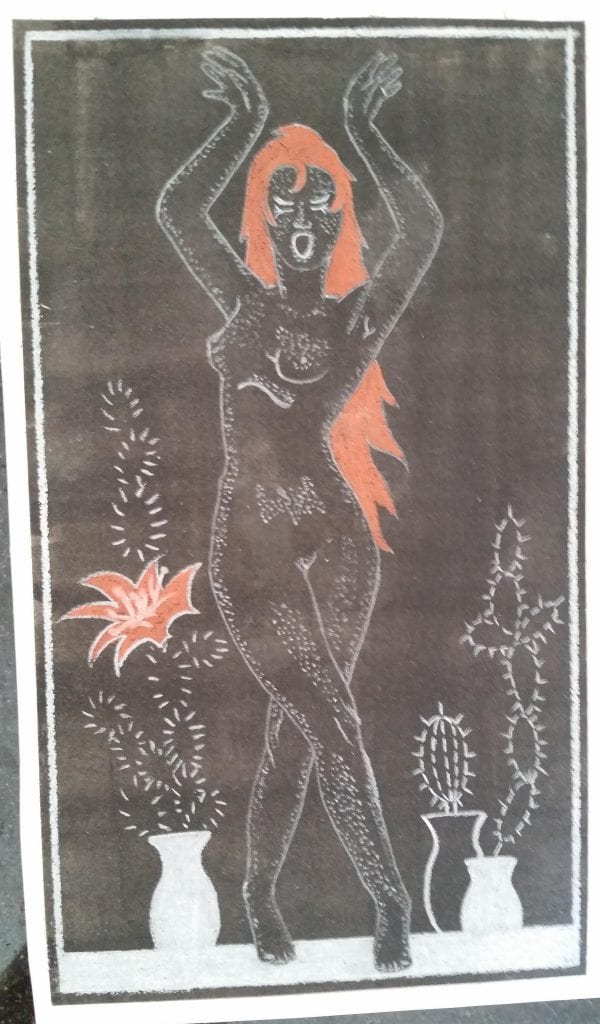 Drawing of a naked lady with flame red hair with plants in background