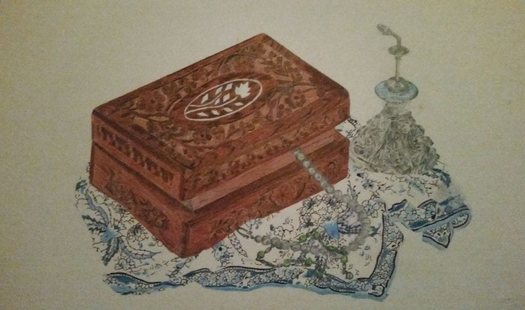 Coloured pencil drawing - Jewellery box, perfume bottle and patterned scarf