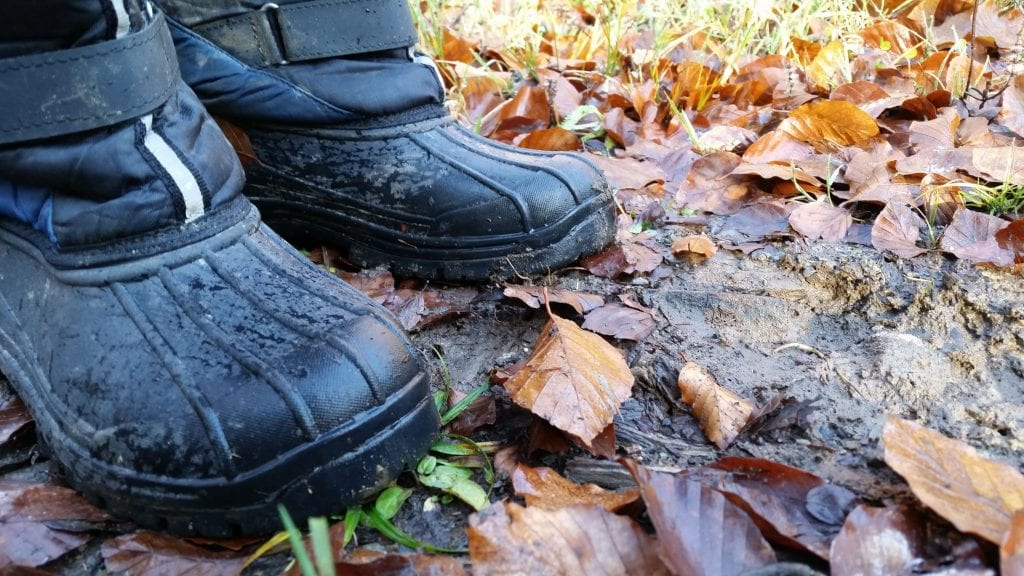 Kids' welly boots outdoors on forest floor