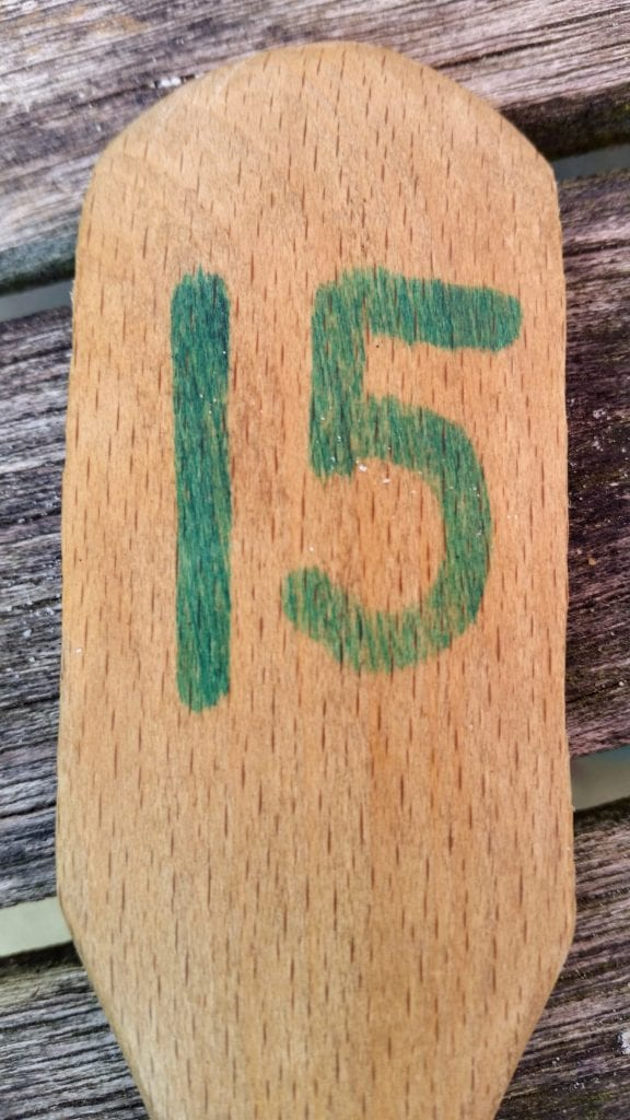 15 on a wooden spoon