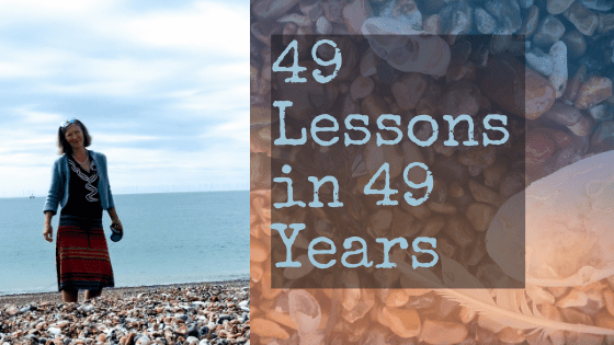 49 lessons in 49 years - woman on beach and shells