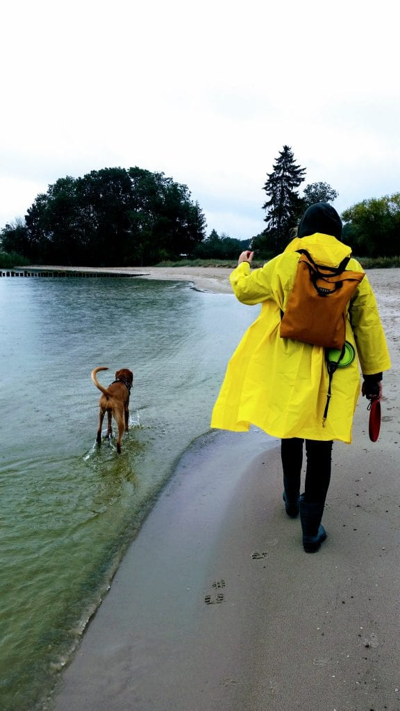 Woman in yellow mac with dog on beach
